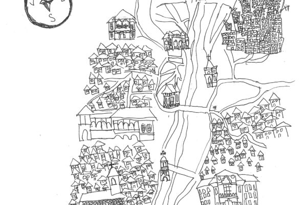 Schita hartii orasului Campulung, desenata de Maria, 12 ani