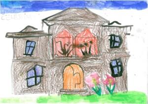 Vila Golescu din Câmpulung Muscel văzută de Celestina,  6 ani, în timpul unui Atelier de Educaţie pentru Patrimoniu
